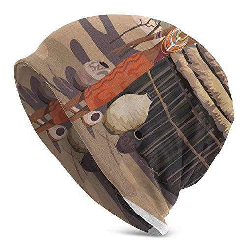 Gorro Hombres Mujeres - Mujer nativa llevando una Olla Choza Árbol Paisaje Natural Pueblo Ilustración - Unisex Gorra de Gorro de Punto con Calavera Lisa