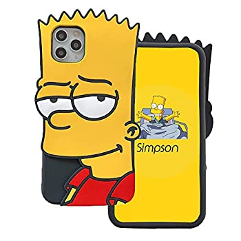 MME Character Case for iPhone 11 Pro Max Case 3D Cartoon No-Face Man Black Widow Mario Simpson Whiskers Soft Silicone Rubber Case for Women Girls Teens  Simpson 11 Pro Max