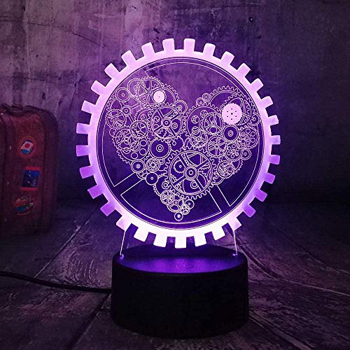 3D Night Led Light Gearwheel Love Lámpara de mesa romántica Bedroon Decor Novedad Lustre Holiday Girlfriend Gift Usb 7 Color Change Touch