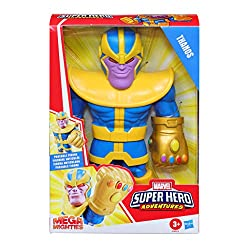 ICONIC MARVEL CHARACTER: imagine causing mischief throughout the universe with this Mega Mighties Thanos toy, inspired by Marvel entertainment POSABLE ACTION FIGURE: each 25-cm Mega Mighties toy features four points of articulation – head, arms, wris...