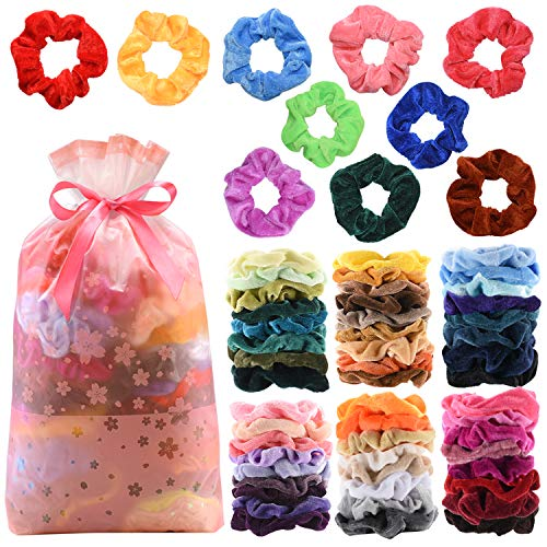 60Pcs Premium Velvet Hair Scrunchies Hair Bands for Women or Girls Hair Accessories with Gift Bag ,Great Gift for Thanksgiving day and Christmas