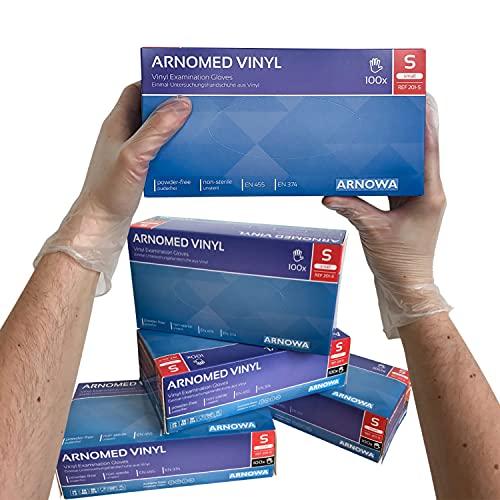 ARNOMED Vinyl Einmalhandschuhe S, puderfrei, 100 Stück/Box, Einweghandschuhe, Vinyl Handschuhe, in Gr. S, M, L & XL verfügbar