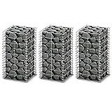 vidaXL Conjunto de 3 Gaviones Pared Alambre Galvanizado 25 x 25 x 50 cm