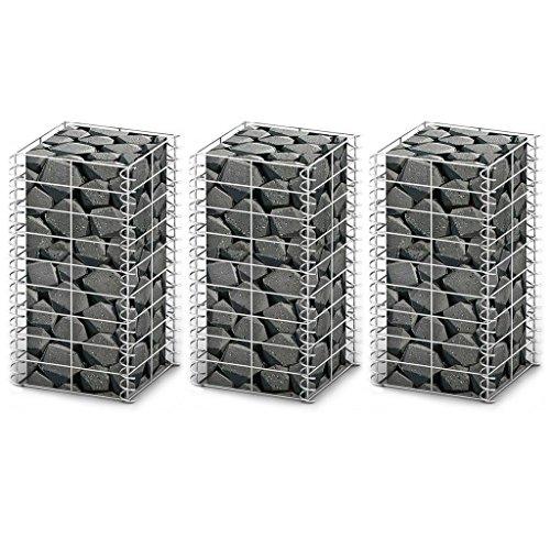 vidaXL 3X Paniers de Gabion Fil Galvanisée Bases pour Mur Clôture Jardin