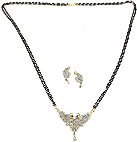 Gold Plated Alloy American Diamond Peacock Design Black Beaded Double Layer Long Mangalsutra Set for Women 32 inch