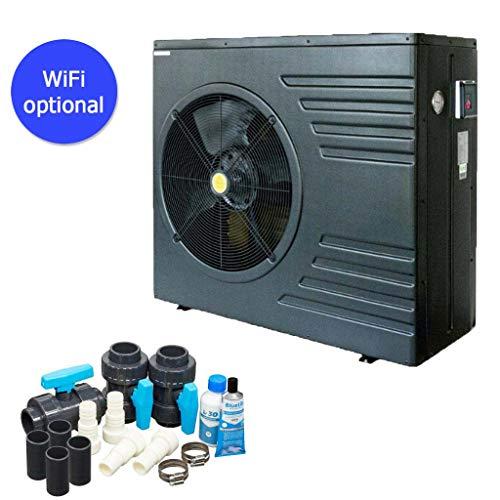 well2wellness ON/Off Pool Wärmepumpe Mida.Black 8 - Poolheizung mit Einer Heizkapazität bis 7,6 kW Plus Bypass Set Basic + Abdeckung