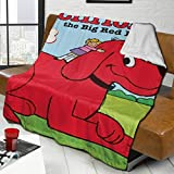 Qualet Clifford The Big Red Dog Ultra Soft Fleece Lambswool Blanket Mildness Silver Fox Fleece Lamb Wool Throw Blanket for Couch Sofa 50' X40