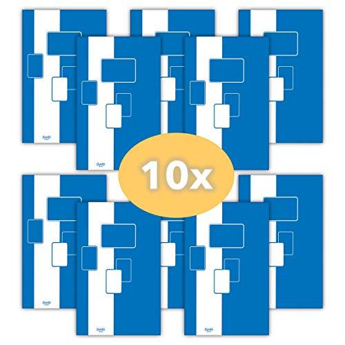 Notizblock / Briefblock A5, kariert, 50 Blatt Bantex Budget, 10 Stück Packung 400116559 blau