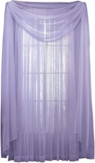 Collections Etc Decorative Classic Privacy Sheer Window Curtain Panel, Rod Pocket Top, Lilac, 59