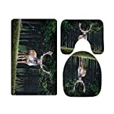 Natural Forest Animal Elk Deer Reindeer Bathroom Rugs and Mats Sets 3 Piece, Memory Foam Bath Mat, U-Shaped Contour Shower Mat Non Slip Absorbent, Velvet Toilet Lid Cover Washable-one_color-