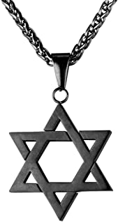 U7 Jewish Jewelry Magen Star of David Pendant Necklace Women Men Chain Black Gun Plated/18K Gold Plated/Stainless Steel Is...