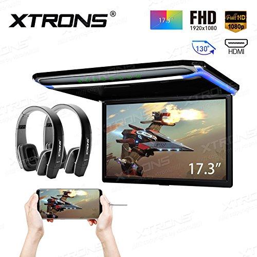"""XTRONS 17,3"""" Digital TFT FHD 16:9 Bildschirm für Auto Bus unterstützt 1080P Video Auto Overhead Player Auto Monitor mit HDMI Port Automosphäre LED Licht Windows CE für Urlaub (CM173HD+DWH005x2)"""