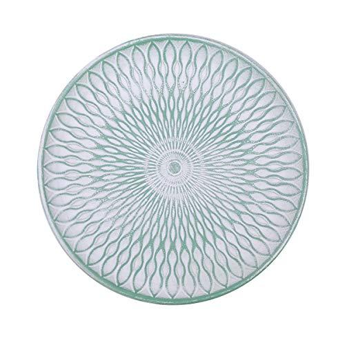 Flanacom Deko Tablett Dekoschale aus Holz - Design Holzschale Rund mit Verzierungen - Moderne Tischdekoration für die Wohnung - Tischdeko für Wohnzimmer oder Flur - Wohnaccessoires (Rund Grün)