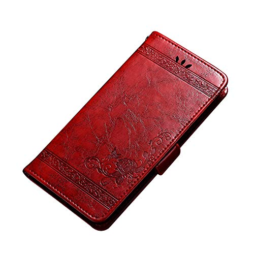 CiCiCat UMIDIGI A5 Pro Hülle Handyhüllen, Flip Back Cover Hülle Schutz Hülle Tasche Schutzhülle Für UMIDIGI A5 Pro Smartphone. (6.3'', Rot)