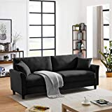Tribesigns Upholstered Sofa Couch for Living Room, Mid-Century 85' Sofa Couch Modern Linen Fabric Loveseat Couch for Small Space Apartment Dormitory (Black)
