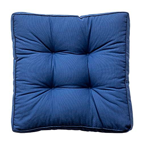 TAIJUN Cojín de silla con lazos, cojín de asiento de silla con 100% algodón acolchado cojín cuadrado tapizado cómodo sillón cojín para oficinas interiores y exteriores azul oscuro