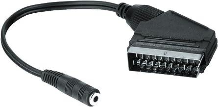 Hama - Euroconector con jack hembra de 3,5 mm (con función de altavoz del TV, euroconector sin desconexión del sonido estereofónico del TV, estéreo), negro
