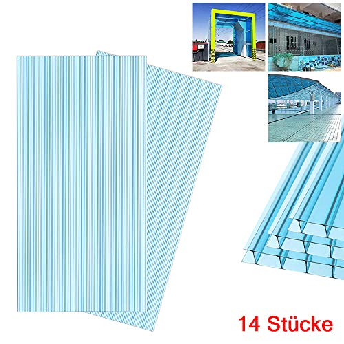 Aufun 14 x planchas alveolares de cámaras de policarbonato de 4 mm, 10,25 m², placas de invernadero, placas de repuesto para jardín, garajes, resistentes UV, azul transparente, 60,5 x 121 cm
