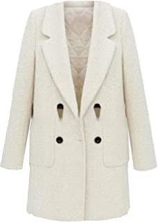 Women's Winter Autumn Double Breasted Notched Lapel Long Pea Coat Overcoats