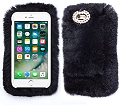 Black Soft Fluffy Fur Bling Silver Case Cover for Apple iPhone 5 5S 5SE with Free Pouch