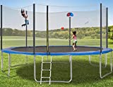 Trampoline 15FT Jumping-Bed with Enclosure Net, Basketball Recreational Trampolines Jump-Dunk for Kids Adult Bounce Outdoor, Family Backyard Safety Sports with Mat Spring Pads Steady-Ladder Hoop ¡…