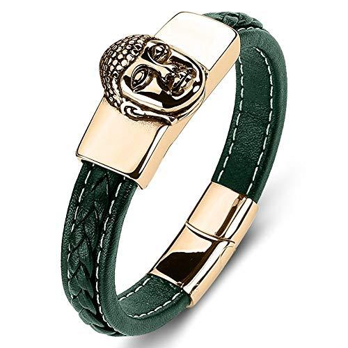 Punk armband van titanium staal voor dames en heren, groene boeddha-kop gouden tessuti A mano, creatieve eenvoudige unieke retro-ketting met polsriem 18.5cm