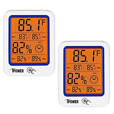 iPower 2-Pack Digital Indoor Hygrometer and Thermometer Humidity Gauge Indicator Accurate Temperature Monitor with Backlight Large LCD Display Screen, Home, Office, Greenhouse, Garden