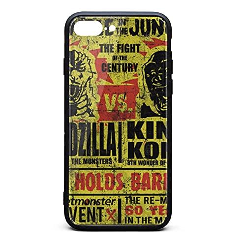 Anti-Fall Godzilla Vs.King Kong Funda rígida para iPhone 7 Plus / 8 Plus Funda rígida 9H Hecha de Vidrio Templado para iPhone 7 Plus / 8 Plus