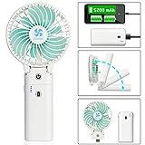 Earto Handventilator USB mit Powerbank-Funktion,Ventilator Leise Mini mit 5200 mAh aufladbarer Batterie Akuu, Personal Fan starker Wind Fan zubehör für Reise/Indoor (weiß)