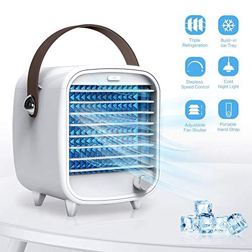 FJLOVE Mini Luftkühler, Tragber Mobile Klimageräte   Luftreiniger   USB Ventilator Mit LED Nachtlicht 3 Kühlstufen Klimaanlage Air Cooler Für Schlafzimmer Wohnzimmer Büro Reise