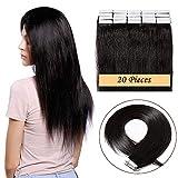 16'(40cm) Extensiones de Cabello Natural con Cinta Adhesiva 100% Remy Pelo Humano Liso Largo Tape in Hair Extensions 20 Unidades (50g,#1B Negro Natural)