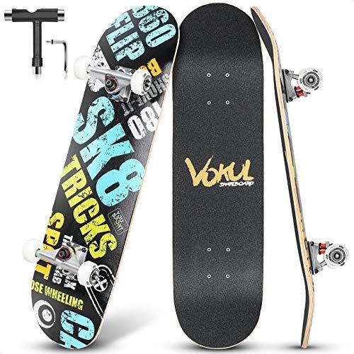 """VOKUL Skateboard Komplettboard, 31.75\""""x7.8\"""" Skateboards 7-lagigem Kanadischem Ahornholz und 95A Rollen mit ABEC-7 Kugellager, für Kinder Jungen Mädchen Jugendliche Erwachsene Anfänger und Profi"""