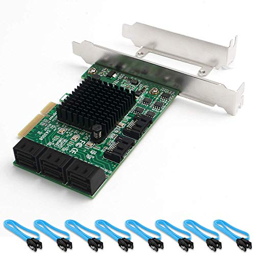 QNINE Tarjeta PCIe SATA de 8 puertos con 8 cables SATA, 6 Gbps Controlador SATA Tarjeta PCI Express Express con soporte de bajo perfil, Arranque como disco del sistema, Soporte 8 Dispositivos SATA 3.0
