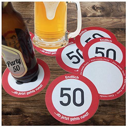 Unser-Festtag Echter Bierdeckel 50 Jahre Geburtstagseinladungen - individuell Tischdeko runde Party - 150 Bierdeckel