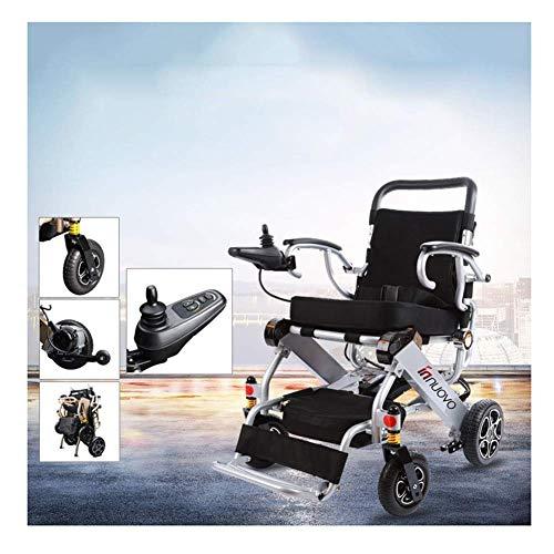 MJY Sillas de ruedas eléctricas plegables, transporte aéreo permitido, sillas de ruedas de lujo, automáticas, potentes, automáticas, de cuatro ruedas Portátil/Plata