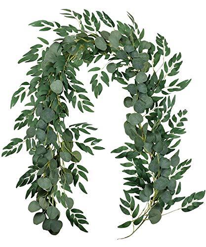 """5.9"""" Blended Faux Silver Dollar Eucalyptus y Willow Vines Ramitas Hojas Guirnalda Cuerda Boda Swag Telón de fondo Guirnalda Puertas Verdor Guirnalda Mesa Corredor Garland Interior Exterior (verde)"""
