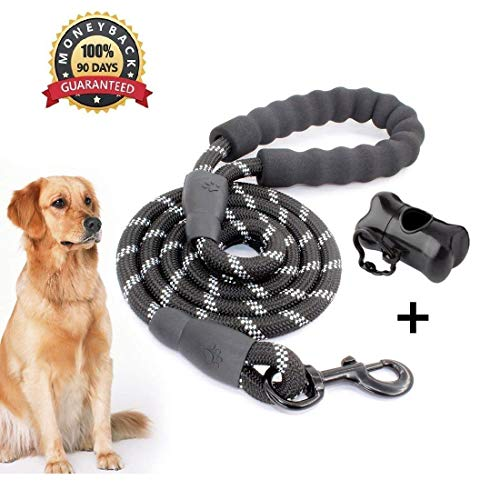 5 FT Starke Hundeleine mit Bequemen Gepolsterten Griff, Starke Reflexnähte der Trainingsleine für Sicherheit Nachts, eignet für Alle Größe Hunde (Schwarz 2)
