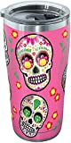 Tervis Sugar Skulls Stainless Steel Tumbler with Clear and Black Hammer Lid 20oz, Silver