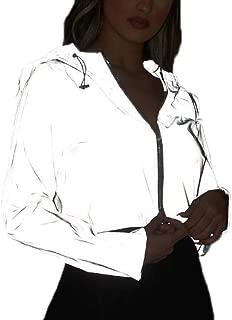oneforus Reflektierender Jogger-Hoodie-Mantel der Frauen, Mode-Reißverschluss-reflektierende Oberteile