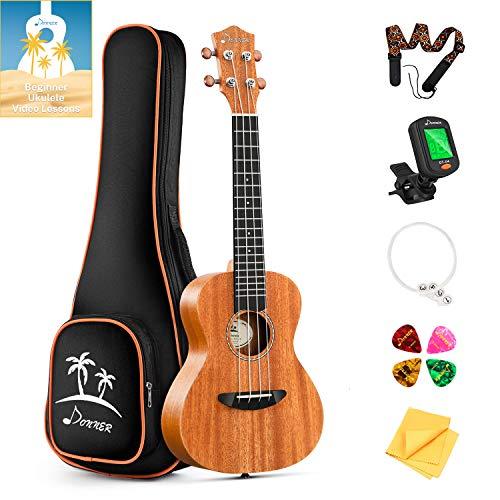 Donner Konzert Ukulele Mahagoni DUC-1 23 Zoll mit Ukulele Set Tasche Gurt Nylon Saiten Gitarren Stimmgerät Plektren