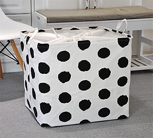 ROMDEANK Fabric Storage Basket Organizer with Handles, Foldable Waterproof Laundry Storage Bin,for Desktop Storage and Household Organizer,Black and white spots,50 X 40 X49CM