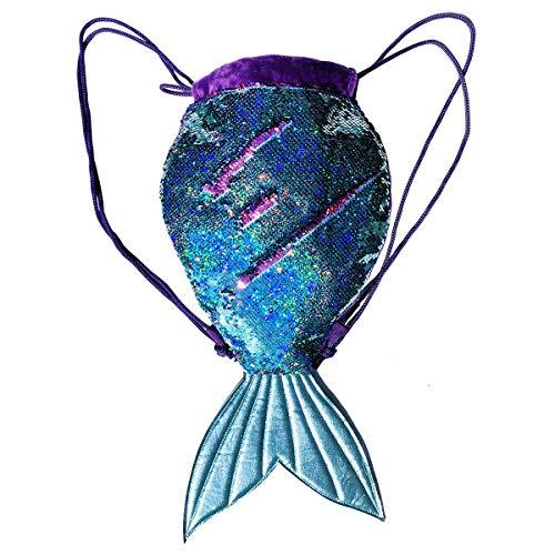 Geschenke für Mädchen -Meerjungfrauen Rucksack für Mädchen von | Glitzer-Tasche mit Wendepailletten, Kordelzug, Baumwollfutter, Innentasche