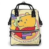 Wickeltaschen-Rucksack – Winnie Pooh Frühling, multifunktional, wasserdicht, Reise-Rucksack, Mutterschaft, Baby-Wickeltasche