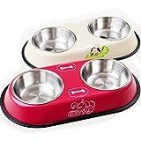 Pixnor, cuenco de acero para animales domésticos, perros, gatos (color al azar)