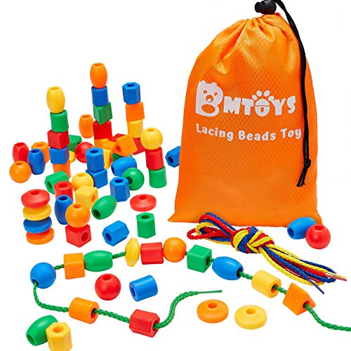 BMTOYS Lacing Beads for Kids - 70pcs Threading Beads Occupational Therapy Toys for Kids 3 4 5 6 7 8...