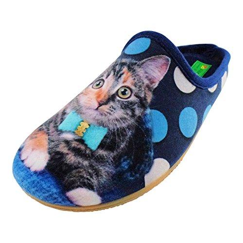 ALBEROLA Hausschuh/Pantoffel HELLE Sohle Katze MIT TÜRKISER Schleife UND Punkten A16612A - EU 36-42 (41)