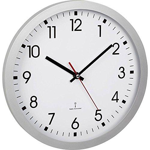TFA Dostmann Analoge Funk-Wanduhr, 60.3522.02, mit Sekundenzeiger, Glasabdeckung, großes Ziffernblatt, 30cm Durchmesser, silber