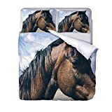 Copripiumino Set, Modello Cavallo Set Copri Piumino Stampa Animali 3D,Set Biancheria da Letto per Letto Super King 260 * 240 CM con 2 federe.