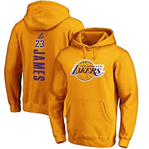 GZZ Herren Und Damen Basketball Hoodie Pullover Lebron James # 23 Los Angeles Lakers Sweatshirt Lose Trainings- / Jogging-Langarm-Dünnjacke (Color : Yellow a, Size : 2XL)