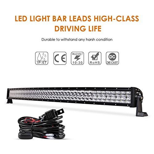 Auxbeam 50 Inch LED Light Bar 288W LED Driving Light Curved 5D Lens Spot Flood Combo Beam Off-Road Light with Wiring Harness